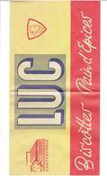 CALOT PUBLICITAIRE EN PAPIER 1960 1970 BISCOTTES PAIN D EPICES SAINT LUC A CHATEAUROUX INDRE - Caps