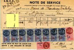 Timbres Fiscaux Sur Récépissé SNCF - Fiscaux
