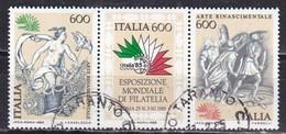 Repubblica Italiana, 1985 - Arte Rinascimentale, Blocco - Nr.1710/1712 Usati° - 6. 1946-.. Repubblica