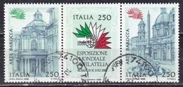 Repubblica Italiana, 1985 - Esposizione Mondiale Di Filatelia, Blocco - Nr.1719/1721 Usato° - 6. 1946-.. Repubblica