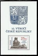 CZECH REPUBLIC REPUBBLICA CECA CZECHOSLOVAKIA CESKA CECOSLOVACCHIA 2003 ANNIVERSARY 10th ANNIVERSARIO BLOCK SHEET MNH - Repubblica Ceca