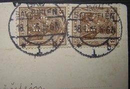 Allemagne: 1915 Paire De Timbres Perforés Sur Carte De Bad Salzufen - Allemagne