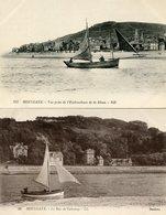Lot De 2 CPA - HOULGATE - Le Bac De Cabourg Et Vue Prise De L'embouchure De La Dives, Animé - Houlgate
