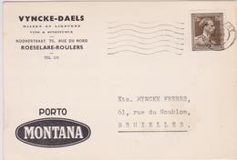 845 - C.P.  VYNCKE - DAELS / VINS & SPIRITUEUX - WIJNEN & LIKEUREN / ROESELAERE - ROULERS  1956 - Cartas