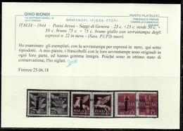 ITALIA REGNO ITALY 1944 POSTA AEREA SAGGI REPUBBLICA SOCIALE ITALIANA RSI CENT. 25+50+75  MNH SAGGIO PROVA CERTIFICATO - 4. 1944-45 Repubblica Sociale