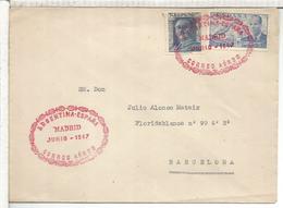 MADRID 1947 CC CON MAT CORREO AEREO ARGENTINA ESPAÑA - Lettres