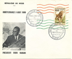 Niger FDC 3-8-1960 INDEPENDANCE Overprinted LION Stamp With President Diori Hamani Cachet - Niger (1960-...)