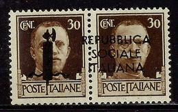 ITALIA REGNO ITALY KINGDOM 1944 SAGGI REPUBBLICA SOCIALE ITALIANA RSI CENT. 30 + 30c MNH SAGGIO PROVA FIRMATO SIGNED - 4. 1944-45 Repubblica Sociale
