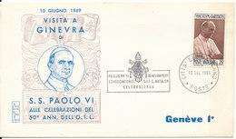 Vatican Cover POPE Paulus VI Visit Geneva 10-6-1969 With Cachet - Covers & Documents