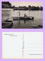 Cp BLÉRÉ : Canotage Sur Le Cher. Tirage Argentique Véritable. Bords Dentelés. Vers 1955. Peu Fréquente. - Bléré
