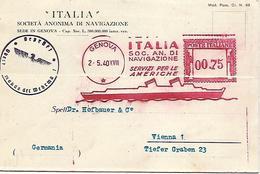1940 - ITALIA SCHIFFSPOST, Washington-Genova (Schweiz)-Wien (Austria). - Italie
