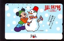 Télécarte Japon * DISNEY * JAL * AIRLINES * 110-160477 *  (6419)  Japan Phonecard *  SKI - Disney