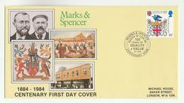 1984 MARKS & SPENCER CENTENARY Special EVENT COVER Baker St GB Stamp Jew Jewish Judaica Heraldic Owl Bird Lion Fdc - Jewish
