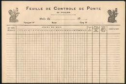 ALIMENTATION- AGRICULTURE-Feuille De Controle De Ponte  Pour Poules - Labos Avicoles Dr LISSOT -PACY Sur EURE - Autres Collections
