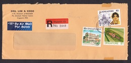 Singapore: Registered Airmail Cover, 1991, 3 Stamps, Cricket, Insect, Lady, Bicycle Taxi, Label (minor Damage) - Singapore (1959-...)