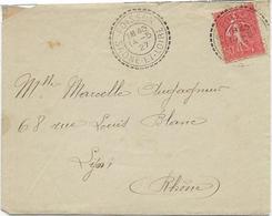 LETTRE AFFRANCHIE SEMEUSE N° 199 -OBLITERATION CAD PERLEE -POISSON- SAONE ET LOIRE -1927 - Marcophilie (Lettres)