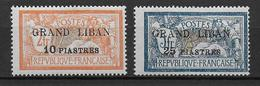 GRAND-LIBAN - YVERT N°13/14 * CHARNIERE CORRECTE - COTE = 45 EUR. - MERSON - Grand Liban (1924-1945)