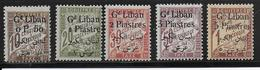 GRAND-LIBAN - TAXE YVERT N°6/10 * CHARNIERE LEGERE - COTE = 35 EUR. - Grand Liban (1924-1945)