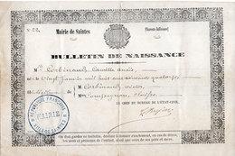 Bulletin De Naissance  - Mairie De SAINTES (Charente Mme) Corbinaud Camille Anaïs - 20 Janvier 1874 (107644) - Vieux Papiers
