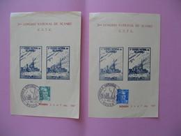 """Bloc Vignette  Rouen 1947  """" Congrès National Du Scamru CFTC """"  Cachet Temporaire Sur Le 3 F Et 4f50  Gandon - Blokken & Postzegelboekjes"""