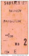 TICKET SNCF BRUNOY PARIS LYON 1962 - Chemins De Fer