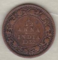 Inde  1/12 Anna 1932  , George V .Bronze .KM# 509 - Inde