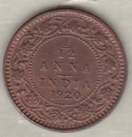 Inde  1/12 Anna 1920 , George V .Bronze .KM# 509 - India
