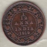 Inde  1/12 Anna 1919 , George V .Bronze .KM# 509 - Inde