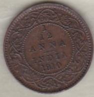 Inde  1/12 Anna 1917 ,  Edward VII .Bronze .KM# 498 - India