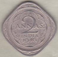 Inde  2 Annas 1946 Calcutta , George VI . Copper-Nickel. KM# 542 - Inde