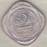 Inde  2 Annas 1946 Bombay, George VI . Copper-Nickel. KM# 542 - Inde