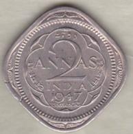 Inde  2 Annas 1947 Calcutta , George VI . Copper-Nickel. KM# 542 - India