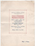 PROGRAMME FEDERATION NATIONALE D'ESCRIME Gala D'Escrime Franco-Italien CIRQUE D'HIVER Musique Militaire 46e R.I.Mai 1924 - Fencing