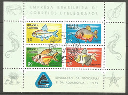 Brazil 1969 Year , Block Used - Fish - Fische