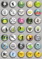 Tennis Ball Fan ART BADGE BUTTON PIN SET (1inch/25mm Diameter) 35 DIFF B - Tennis