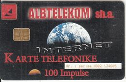 ALBANIA - Internet, Albtelecom Telecard 100 Units, 11/00, Used - Albania