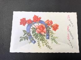 701 - BONNE Et HEUREUSE ANNEE Roses & Fer à Cheval - 1967 - Nouvel An