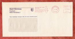 Brief, Pitney Bowes E11-1250, 600 Jahre Papier Nuernberg, 100 Pfg, 1990 (53406) - [7] République Fédérale