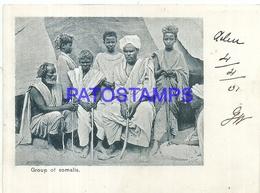 95265 AFRICA SOMALIA YEMEN ADEN COSTUMES GROUP NATIVE CIRCULATE TO ITALY POSTAL POSTCARD - Somalia