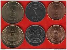 Afghanistan Set Of 3 Coins: 1 - 2 - 5 Afghanis 2004-05 UNC - Afghanistan