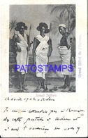 95268 AFRICA SOMALIA SOMALI YEMEN ADEN COSTUMES SOLDIERS CIRCULATE TO FRANCE POSTAL POSTCARD - Somalia