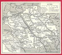 Carte Du Département De L'Aube, Préfecture, Sous Préfecture, Chef Lieu De Canton, Commune, évêché... Larousse 1951 - Autres