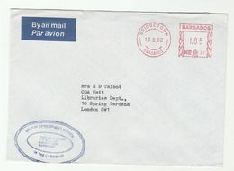 1982 Air Mail BARBADOS COVER 0.60 METER NE87 Stamps  British Development Division Caribbean To ODA Unit Libraries GB - Barbades (1966-...)