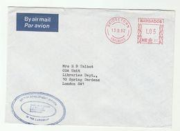 1982 Air Mail BARBADOS COVER 0.60 METER NE87 Stamps  British Development Division Caribbean To ODA Unit Libraries GB - Barbados (1966-...)