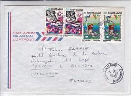 AIRMAIL CIRCULEE TUNISIENNE TO ESPAGNE. OBLIT HAMMAMET 1985 - BLEUP - Tunesië (1956-...)