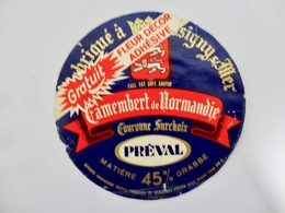 ETIQUETTE FROMAGE  CAMEMBERT PREVAL COURONNE SURCHOIX - Cheese