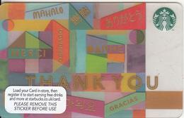UK - Thank You, Starbucks Card, CN : 6118, Unused - Gift Cards