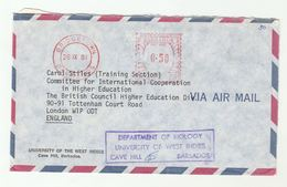 1981 Air Mail BARBADOS UNIVERSITY COVER Dept BIOLOGY 0.50 METER Stamps  To British Council GB - Barbades (1966-...)