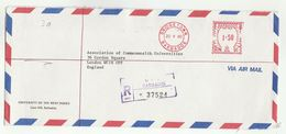 1980 Registered BARBADOS UNIVERSITY COVER  METER 1.50 RN91 Stamps  To Assoc Commonwealth Universites GB - Barbades (1966-...)