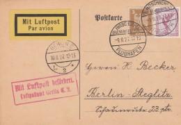 Deutsches Reich Luftpost Postkarte 1927 - Germany